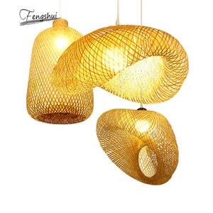 Modern Bamboo Lamp Art Decor Pendant Light  Restaurant Hotel Rattan Pendant Lamp for Living Room Hanging Lamp Kitchen Fixtures