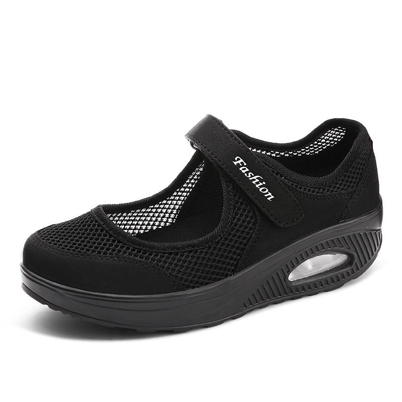 Zapatos de mujer, zapatillas de otoño, zapatos para madres, zapatos deportivos ligeros de malla para mujer, zapatos casuales cómodos vulcanizados 699