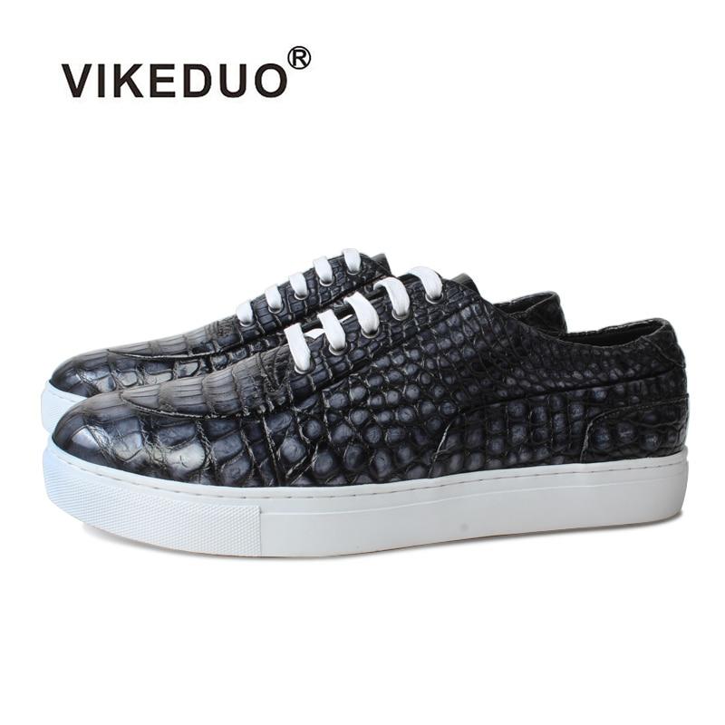 Мужская кожаная обувь ручной работы Vikeduo, черно-серая повседневная обувь из натуральной кожи, под крокодила