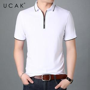 UCAK Brand Streetwear Short Sleeve T-Shirts Men Clothing Summer New Arrivals Turn-Down Collar Casual Zipper T Shirt Homme U5427