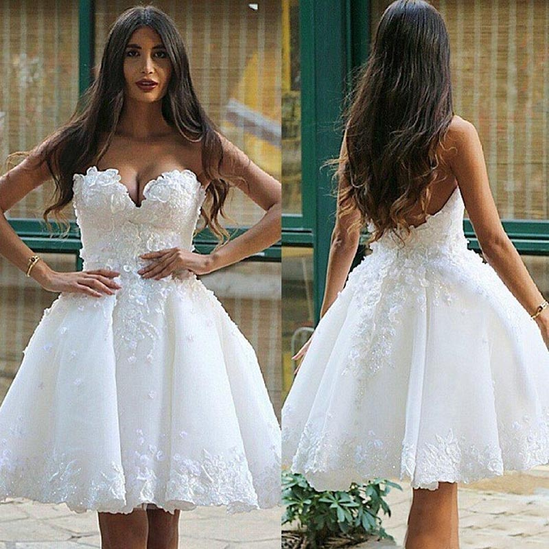 2021 New Arrival Charming White A Line Wedding Dresses for Bride Short Sweetheart Florals Bridal Gowns Open Back On Sale