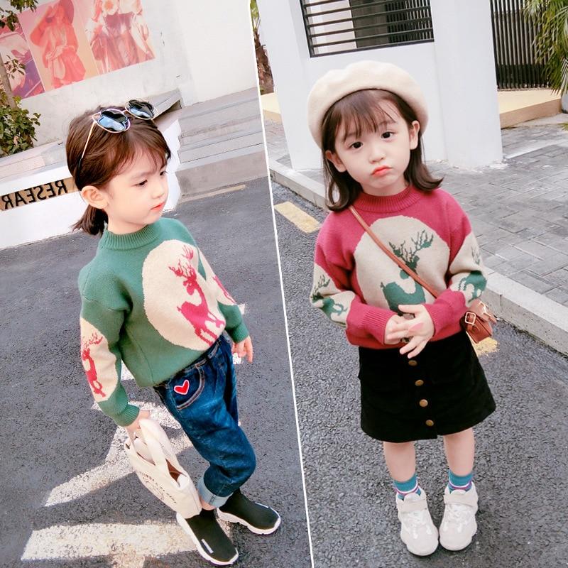 Kids Girls Deer Christmas Sweater Autumn Winter Fashon Princess cute knitted top Children's Sweater Top TP19040
