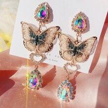 MENGJIQIAO mode coréenne dentelle papillon goutte deau cristal boucles doreilles pour femmes filles élégant luxe fête Pendientes bijoux