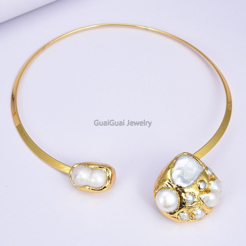 GG Gioielli Bianco Keshi Perla 24 K Giallo Placcato Oro Della Collana Del Choker
