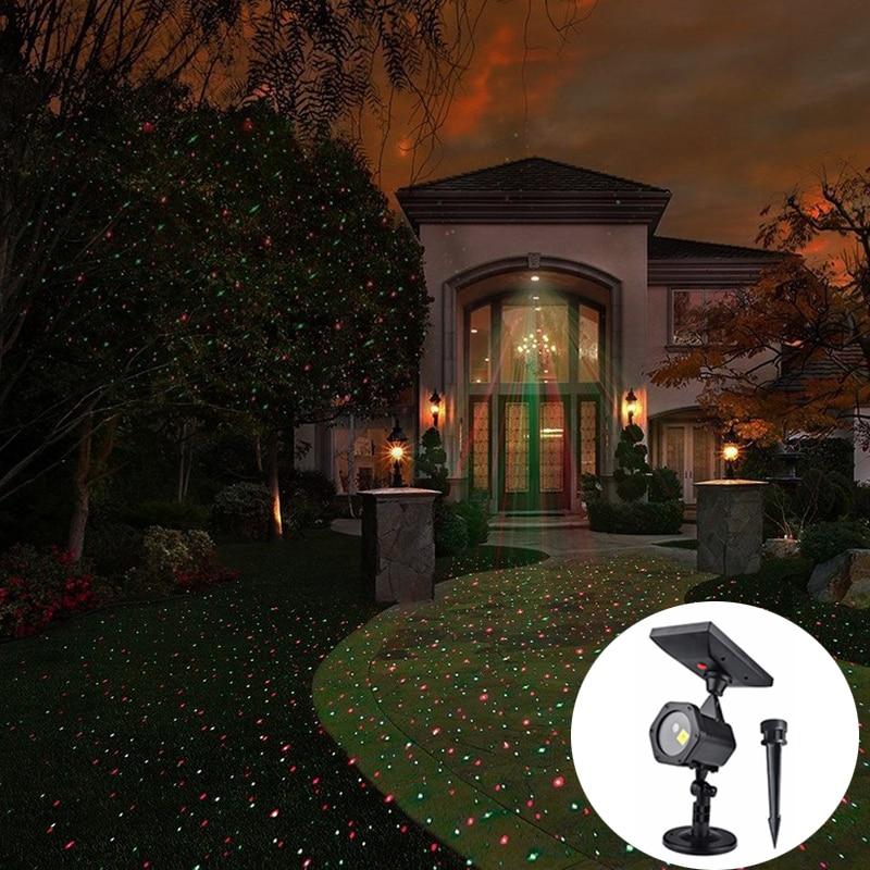 Солнечные Рождественские лазерные фонари, водонепроницаемые наружные красные зеленые звезды, светодиодные прожекторы для сцены, для празд...