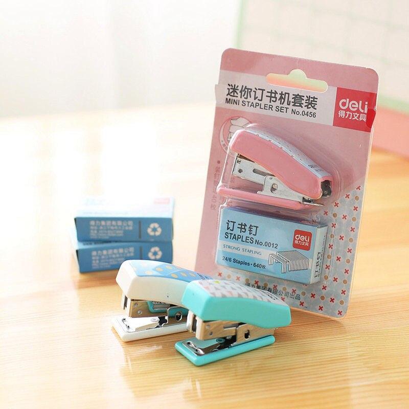 Простой набор степлеров милые степлер с мультипликационным рисунком мини маленький степлер Студенческая Канцелярия