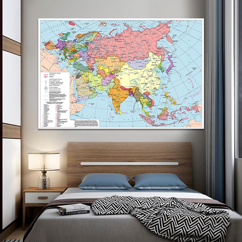 225*150 cm In Russian The Asia and Europe Map Non-woven Canvas Painting Wall Art Poster Home Decoration School Supplies