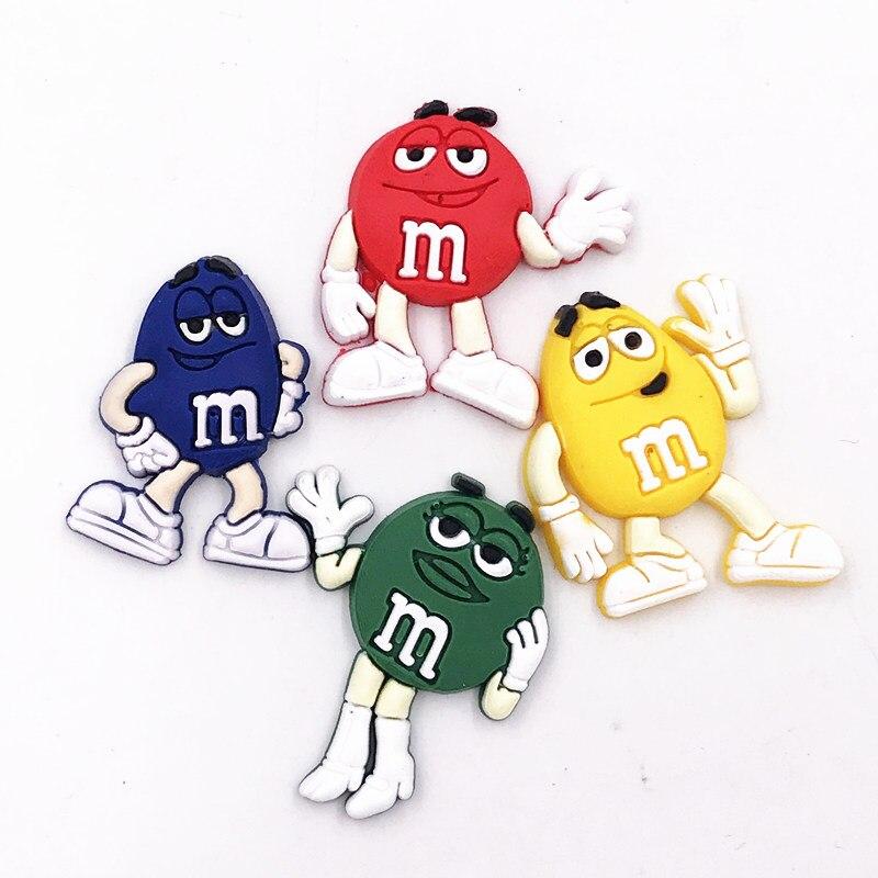 M & m personaje divertido Chocolate de cacahuete icono de la comida de silicona colorida Flatback adorno mochila Diy zapatos encanto imán de nevera