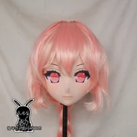 rabbit 83 resin cross dress pretty girl head bid doll mask japanese anime kigurumi mask cosplay with wig
