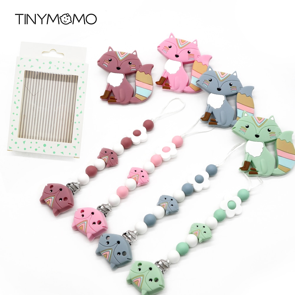 Baby Silicone Teether Pacifier Chain Sets Fox Teething Nursing Chewing Toys Edible Safe Silicone Napple Clips Chains BPA Free