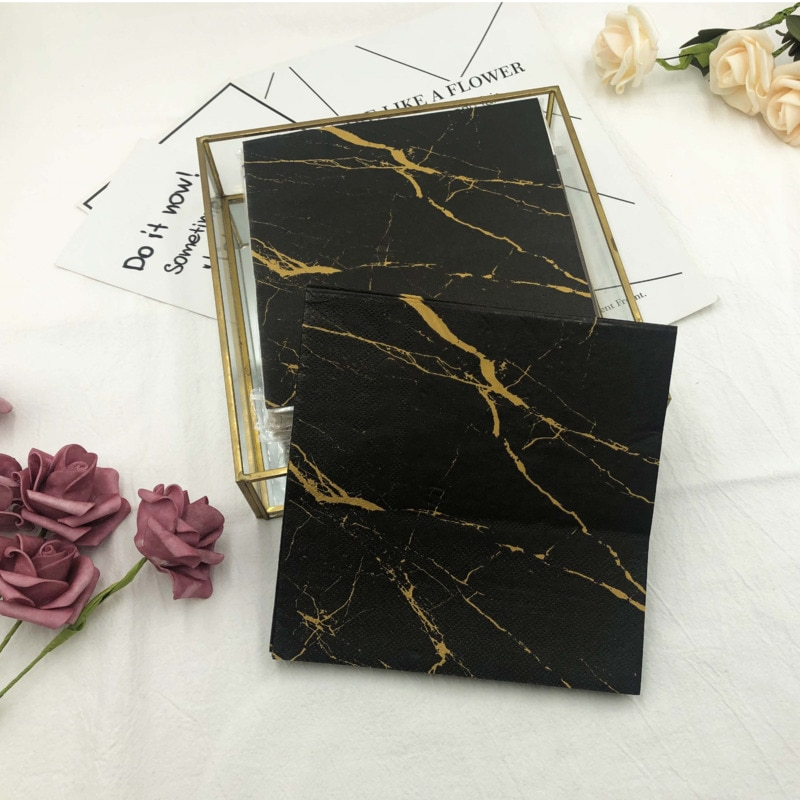 100pcs 33*33cm Gorgeous Marble Theme Paper Napkins Serviettes Decoupage Decorated For Wedding Party Virgin Wood Tissues