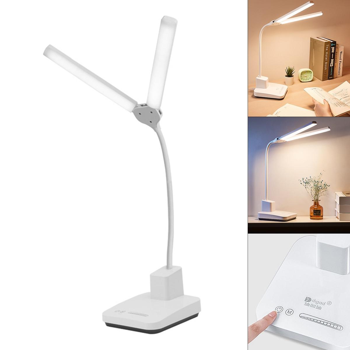 مزدوج رئيس لمبة مكتب USB قابلة للشحن ستبليس يعتم حماية العين مصباح الطاولة 3 اللون دراسة القراءة الخفيفة 2021