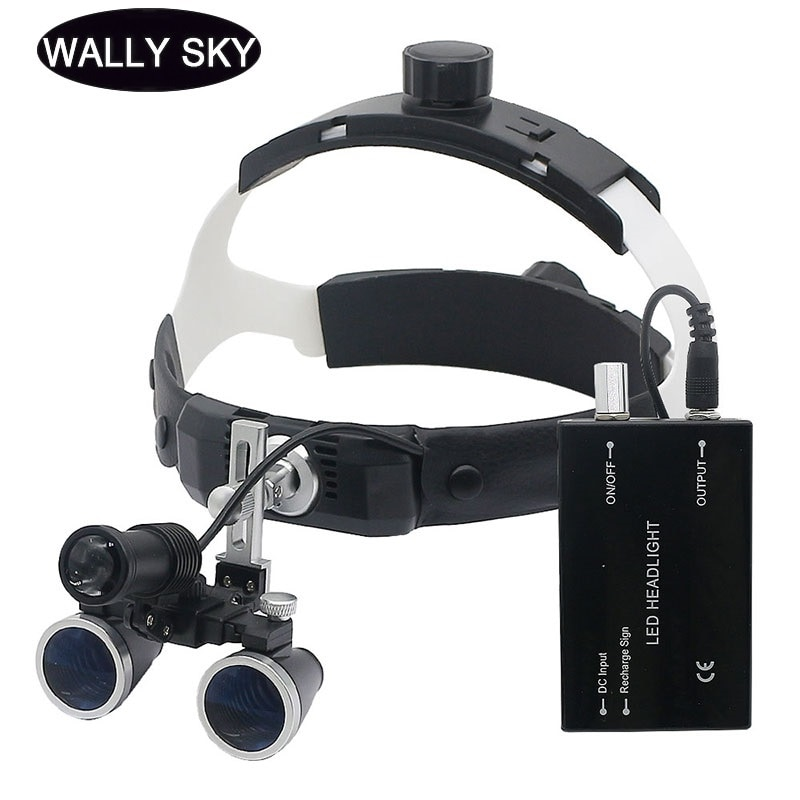 LED Headband Dental Loupes Binocular Magnifier Headlight High Resolution Optical Glass Lens Medical Surgical Cosmetic Surgery loupe magnifier surgical glasses 2 5x 3 5x dental loupes medical magnifier coated optical lens with clip for dentist surgical