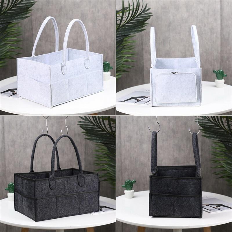 Foldable Multi Pocket Felt Purse Handbag Baby Diaper Storage Tote Bag Nappy Nursery Organizer Basket Caddy Wipe Bag Fabric Bag