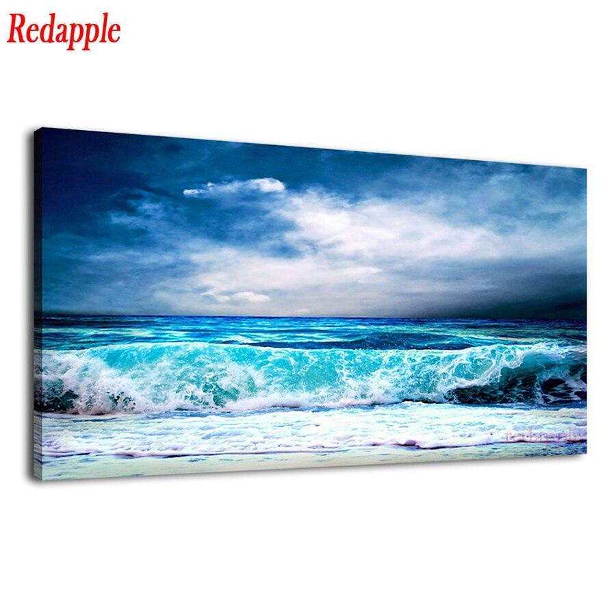 Tamanho grande diamante bordado oceano aqua ondas imagem clima tempestuoso céu azul 5d mosaico diy pintura diamante quadrado completo redondo