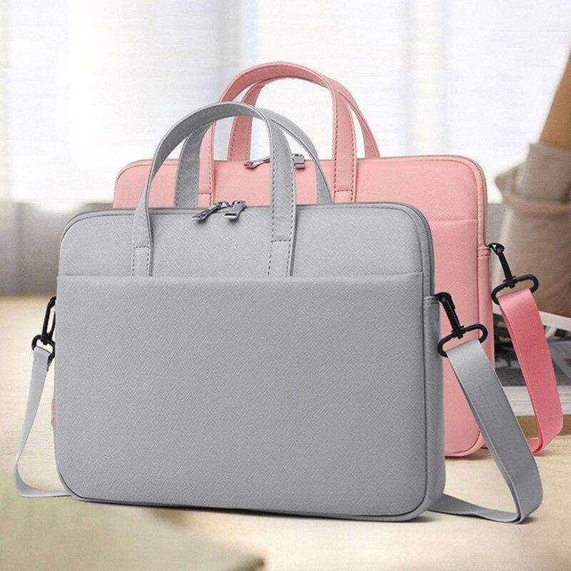 بو الجلود حقيبة كمبيوتر محمول 13 14 15.6 حقيبة يد لماك بوك اير برو 13 15 16 المرأة حقيبة الكتف حقيبة مقاوم للماء ل شاومي hp