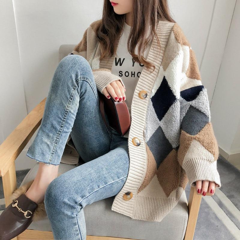 Argyle, suéter tejido a cuadros, cárdigan informal para mujer, suéter de invierno, cárdigan coreano de una sola botonadura extragrande Harajuku W156