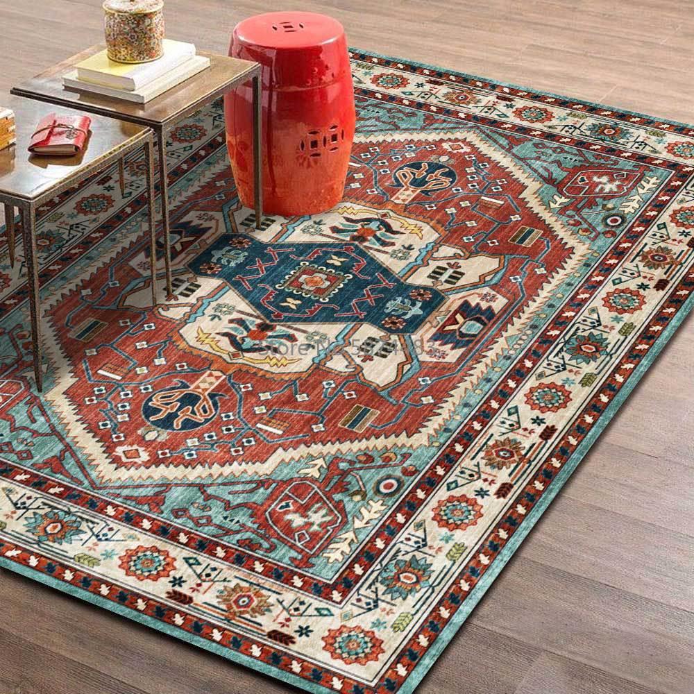 سجاد على الطراز الفارسي الكلاسيكي بتصميم هندسي باللون الأحمر والأزرق يصلح لغرف المعيشة والسرير والتخصيص