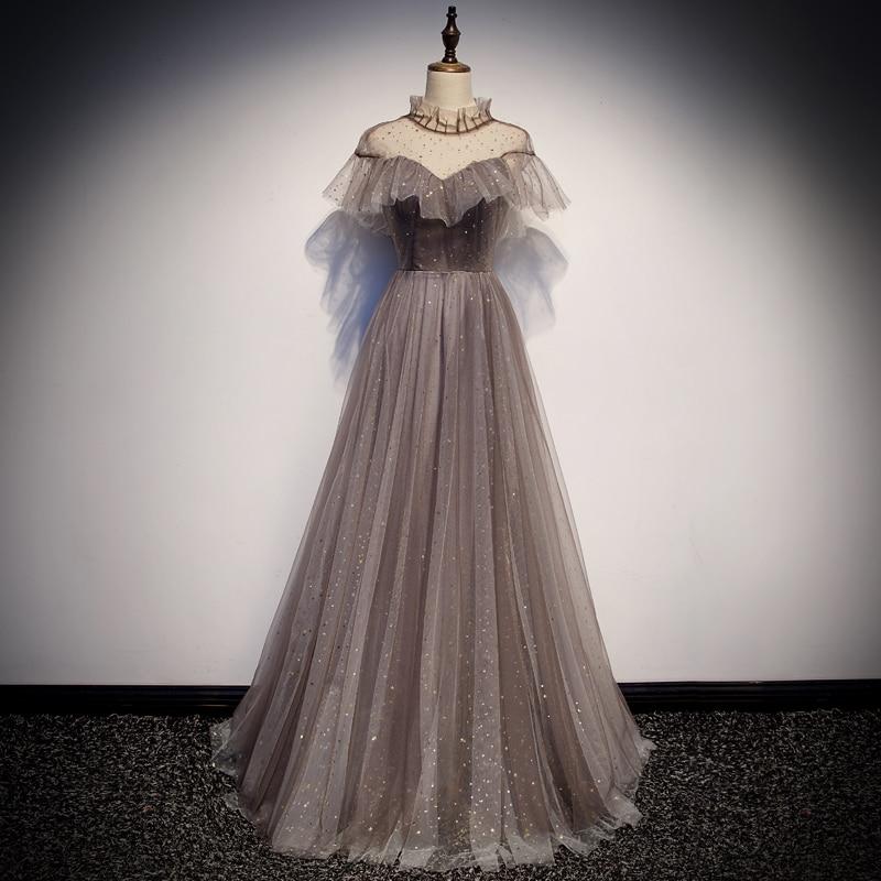 فستان سهرة رمادي ، ياقة عالية ، لؤلؤ ، خط a ، طول الأرض ، مخصص ، برباط ، وهم ، R1247