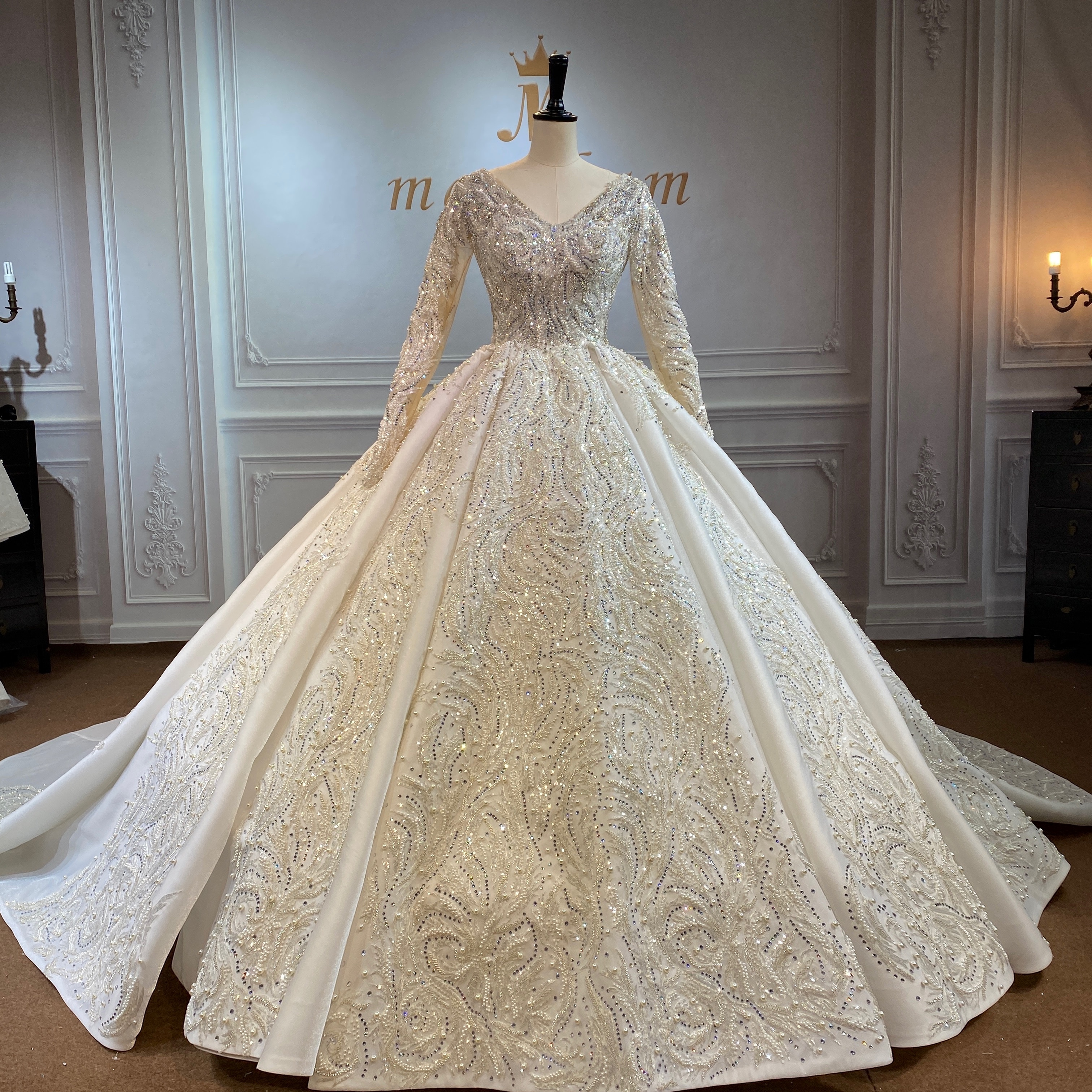 Marnham Spring Wedding Gown Ivory Bride Dress With Long Train And Sleeves Full Beads Real Work Photo