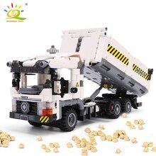 HUIQIBAO 799 stücke Technik Engineering Dump Lkw Bausteine Fahrzeug Auto Steine Gesetzt Pädagogisches DIY Spielzeug für Kinder Jungen