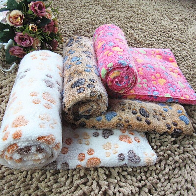 Мягкое Коралловое флисовое покрывало для собаки теплое одеяло с принтом лап и