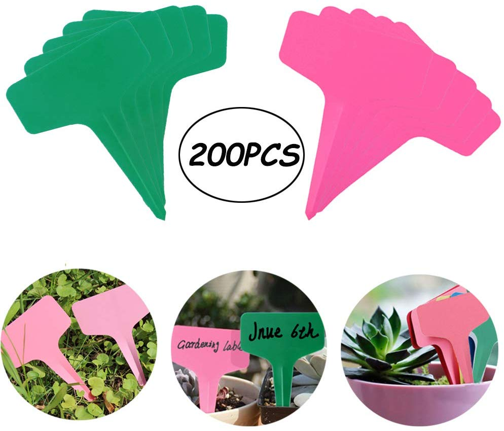 200PCS Plastic Waterproof Plant Nursery Garden Labels T-Type Tags Markers Plant Stakes Re-Usable and Eco Friendly Plant Labels(P