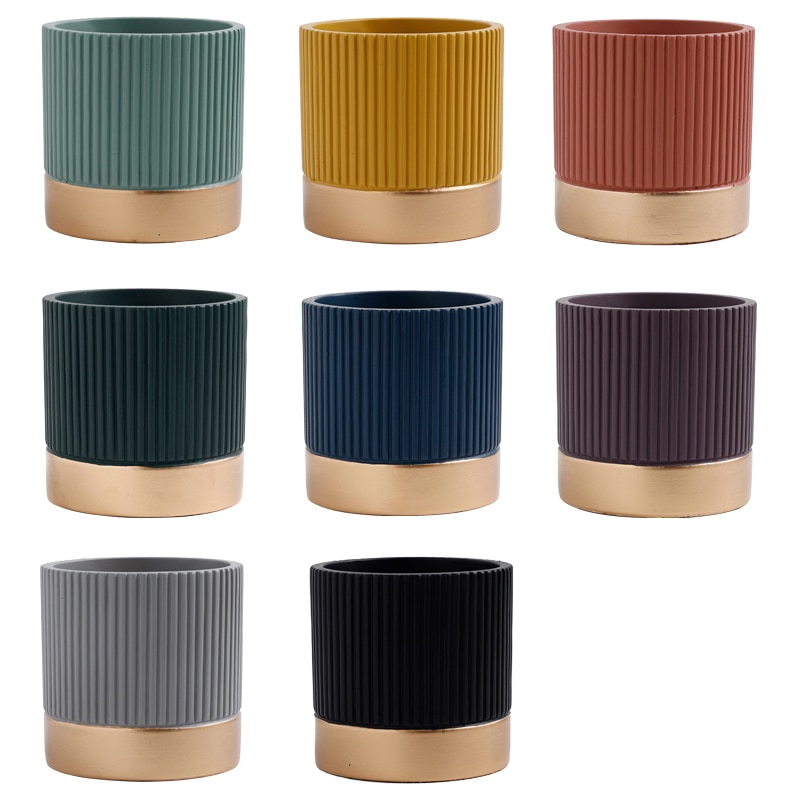 Купить с кэшбэком Morandi Cement  Flowerpot Nordic Style Colorful Stripe Cylindrical Shape  Flower Pot Succulent Planter Green Plants With Hole