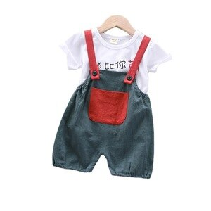 New Summer Infant Clothing Suits Kids Boys and Girls Cotton Tracksuit Cute Cartoon T-shirt+Overalls Baby Toddler Casual Clothes