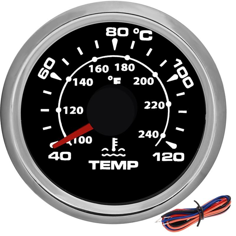 مقياس درجة حرارة الماء ، 40 ~ 120 درجة مئوية ، 52 مللي متر ، مقاوم للماء ، مع إضاءة خلفية 7 ألوان ، للسيارة ، القارب ، الدراجة النارية