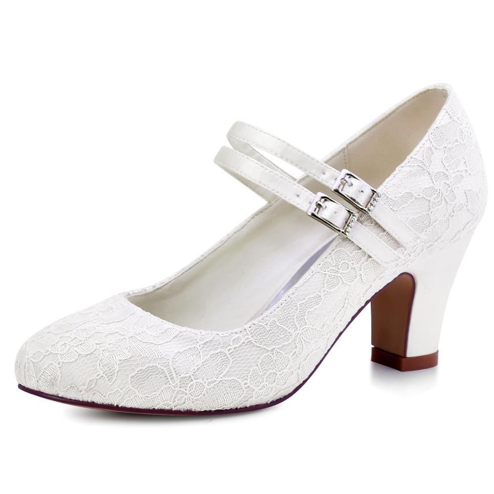 Blanco marfil zapatos de Boda nupcial Mary Jane bloque tacones mujer damas novia fiesta de noche tacones altos HC1708 negro púrpura
