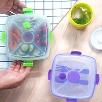 square large plastic fresh keeping box 1200ml wholesale cross border supply salad box buckle double layer lunch box