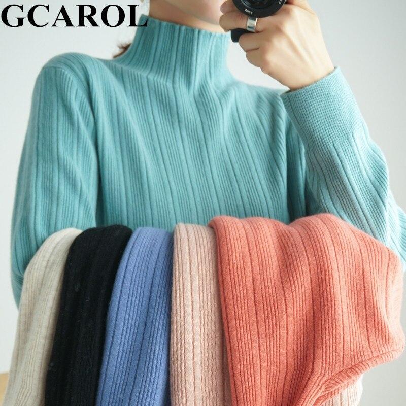 GCAROL Otoño Invierno minimalista Jacquard rayas suéter 30% Lana Collar de soporte grueso OL diario Candy Jumper Slim Fit Jersey M-2XL