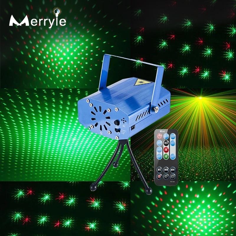 Светодиодный DJ Disco вечерние лазерные прожекторы, авто мигающий эффект, лампа с пультом дистанционного управления для праздника, Рождества, ...