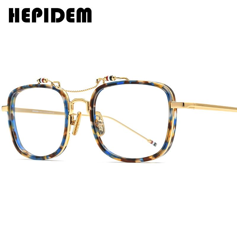 HEPIDEM نظارات بمادة الخلات إطار الرجال مربع وصفة النظارات جديد براون النساء المتضخم النظارات البصرية نظارات 50247