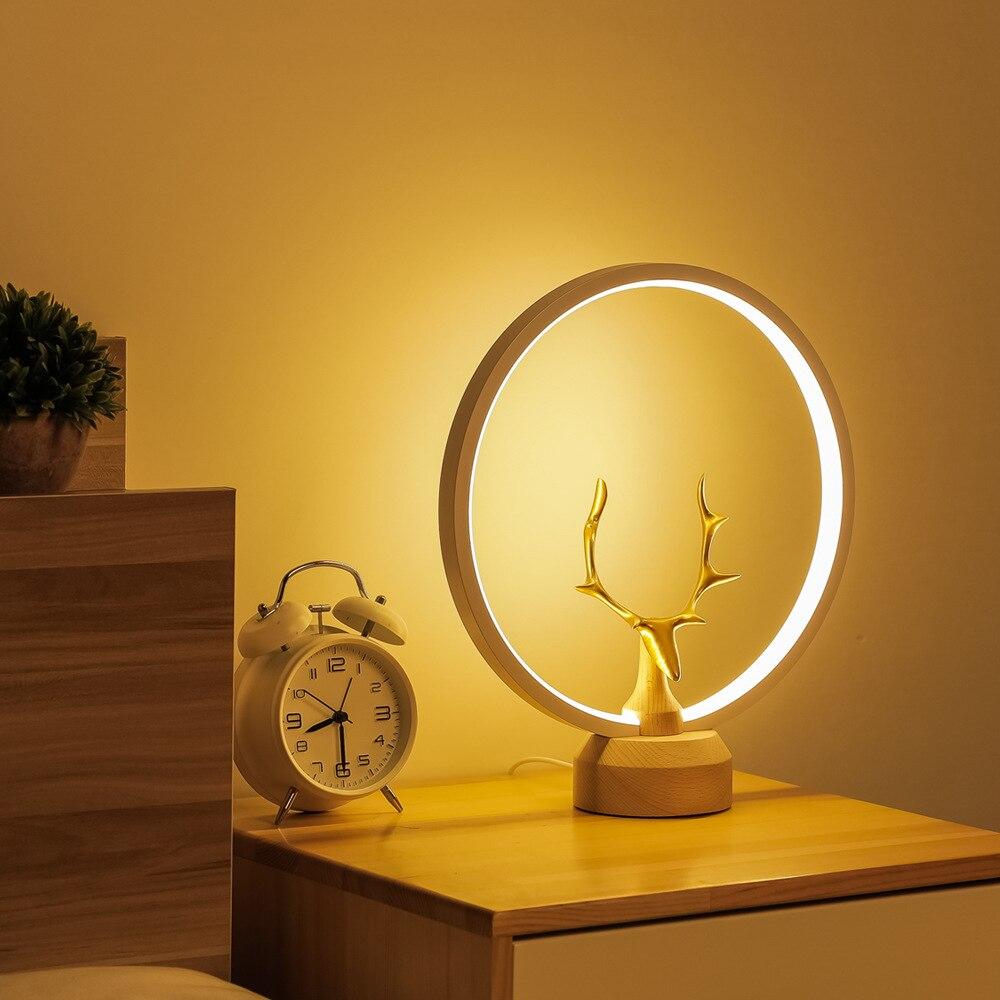 USB Table-Lamp Magnetic Balance Lamp Creative LED Night Light Solid Wood Custom Bar enlarge