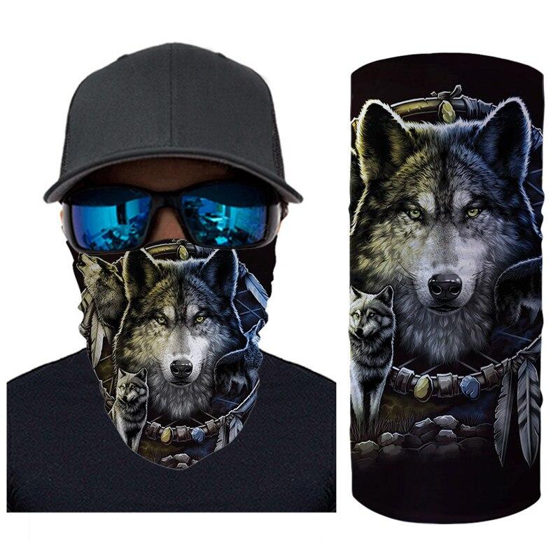 Magic Scarf Outdoor Scarves Wolf Print Unisex Seamless Bandana Elasticity Anti Dust Windproof Headband Wristband Cachecol