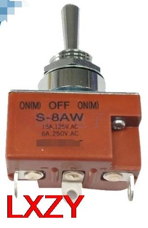 Envío gratis 2 unids/lote S-8AW S8AW SPDT (On)-Off-(On) interruptor oscilante de 3 velocidades