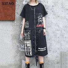 Xitao Tij Brief Print Plus Size Jurk Vrouwen Patchwork Pocket Persoonlijkheid Koreaanse Mode O Hals Match Alle Zomer 2019 DLL3176