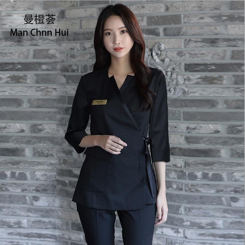 Beauty clothing Korean Style black Spa Health Club Beauty Salon spa uniform beautician uniform top+p