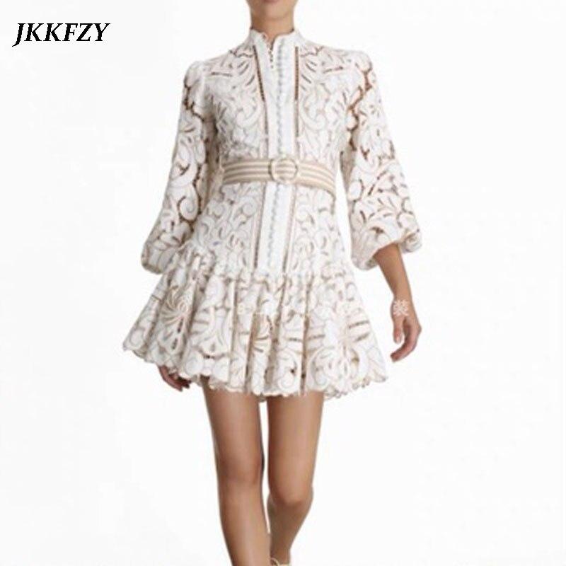 Vintage évider dentelle robe de broderie florale 2020 nouveau printemps femmes col montant lanterne manches taille haute avec ceinture robe