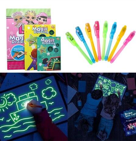 1pc juguetes educativos Tabla de dibujo tableta Graffiti 1pc A4 A3 LED magia luminosa Raw con luz-pluma fluorescente divertida
