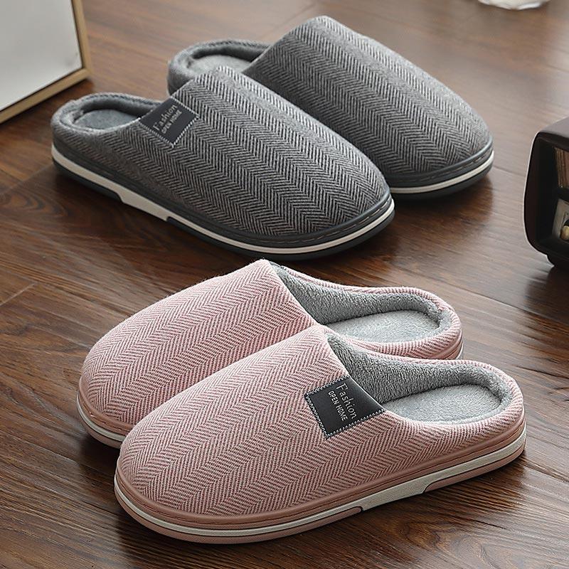 Winter Warm Men's Slippers Memory Foam Women Slippers For Home Non Slip Man Shoes Indoor Soft Soles Stripe House Slippers