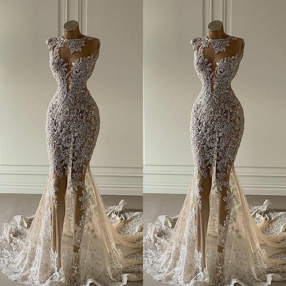 فستان زفاف حورية البحر من الكريستال ، شفاف ، مزين بالدانتيل ، فاخر ، ترتر ، دبي ، مخصص ، مجموعة جديدة 2021