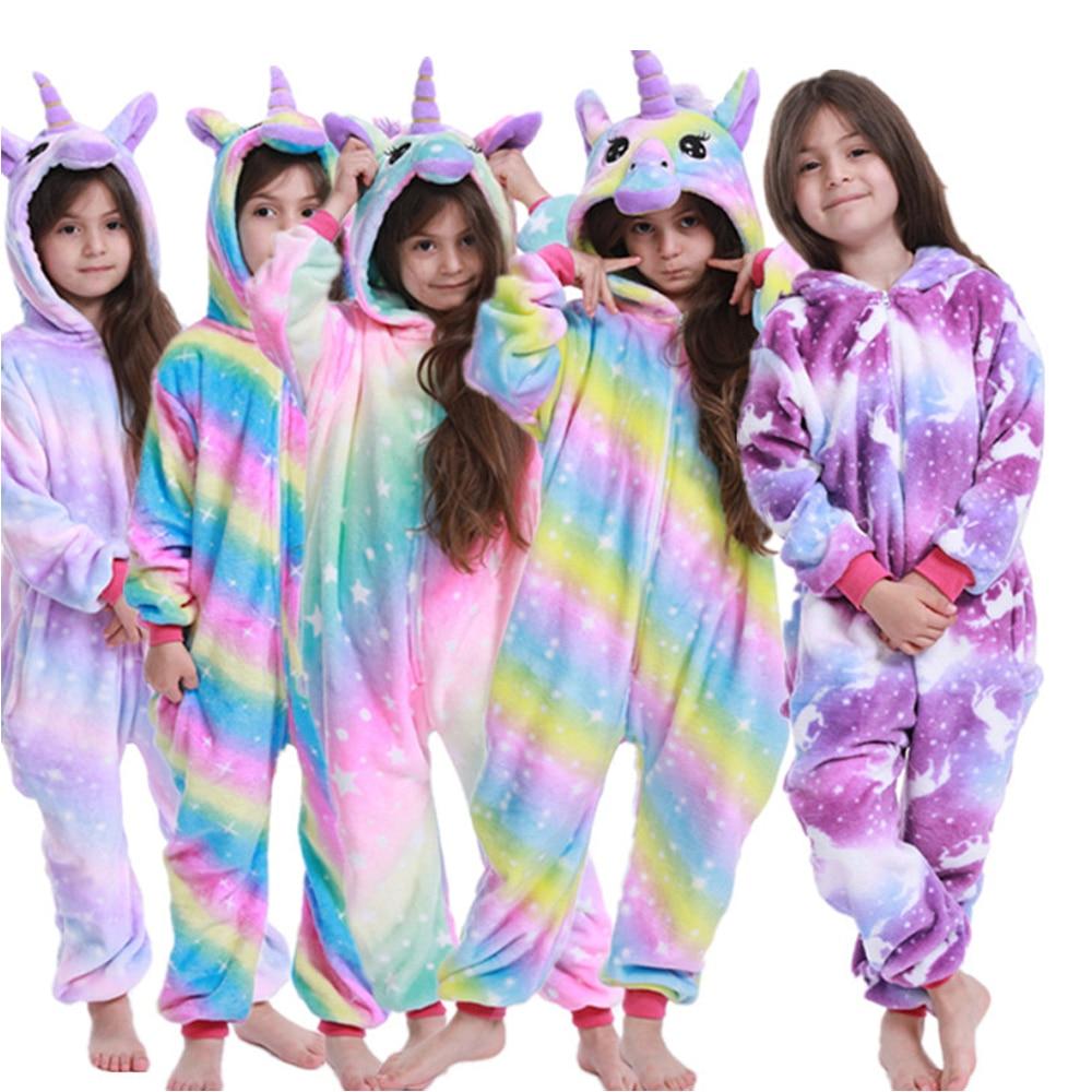 Rainbow Girls Kigurumi For Kids Pijamas Licorne Unicorn Pijaams Blanket Sleeper Boys Stitch Cartoon Pajamas Pyjamas Children