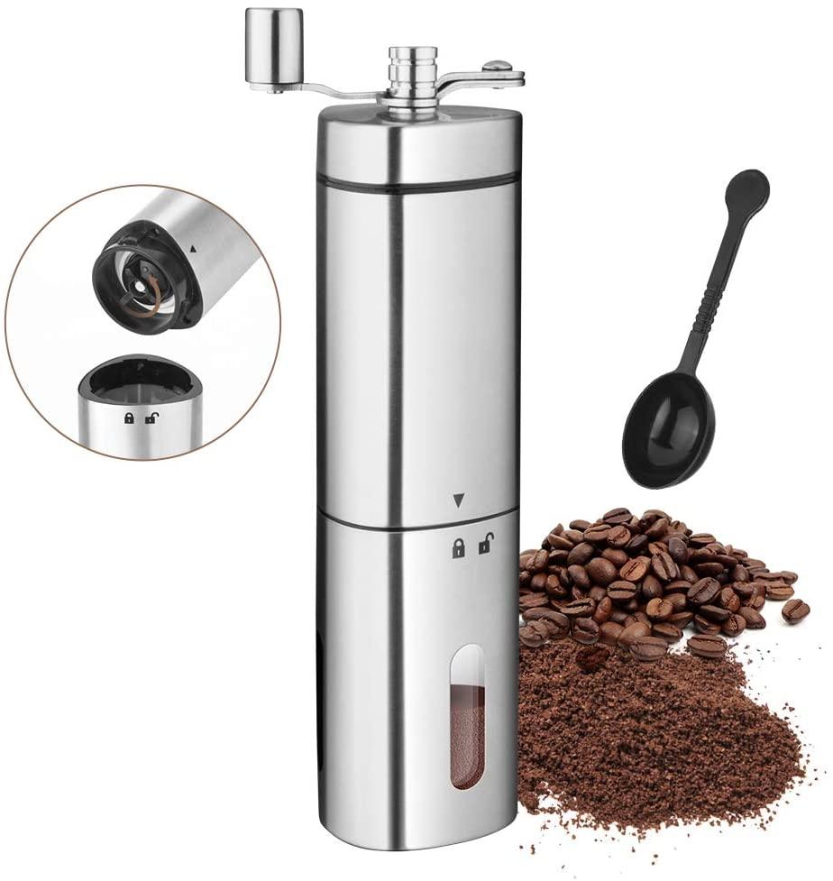 Molinillo de café portátil de acero inoxidable, molinillo de café de mano ajustable, molinillo cónico de grano de cacao, molinillo Manual de café