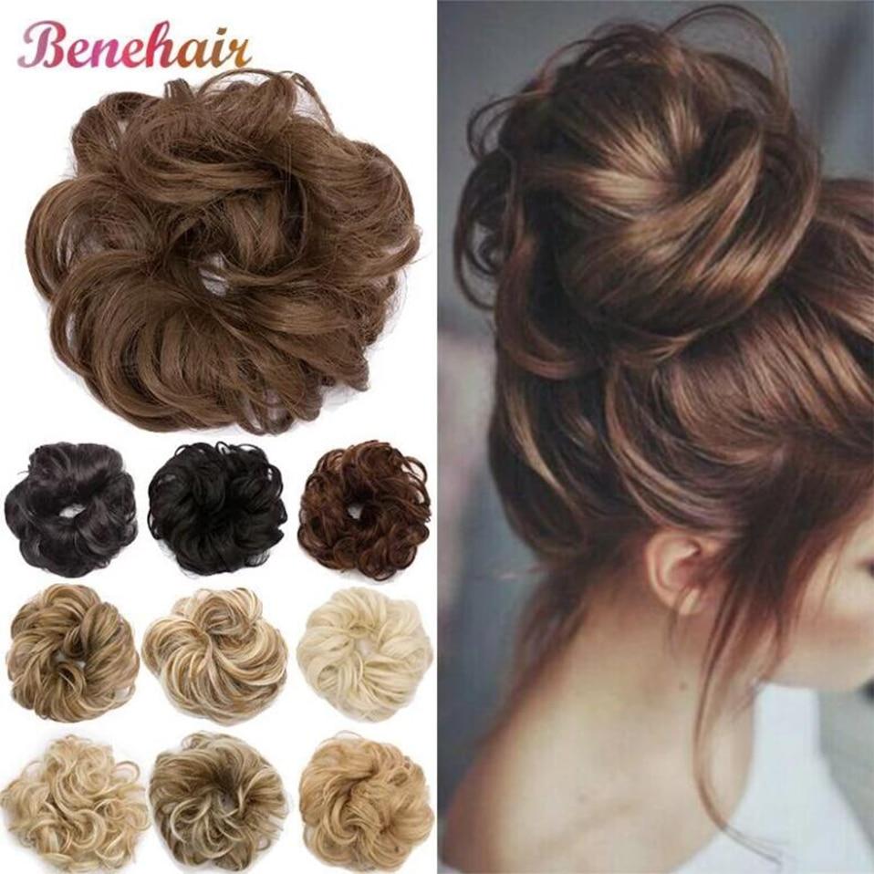 bun bun button BENEHAIR Messy Bun Scrunchy Hair Bun Fake Hair Synthetic Women Chignon Elastic Hair Band Hairpieces For WomenUpdo Donut Chignon