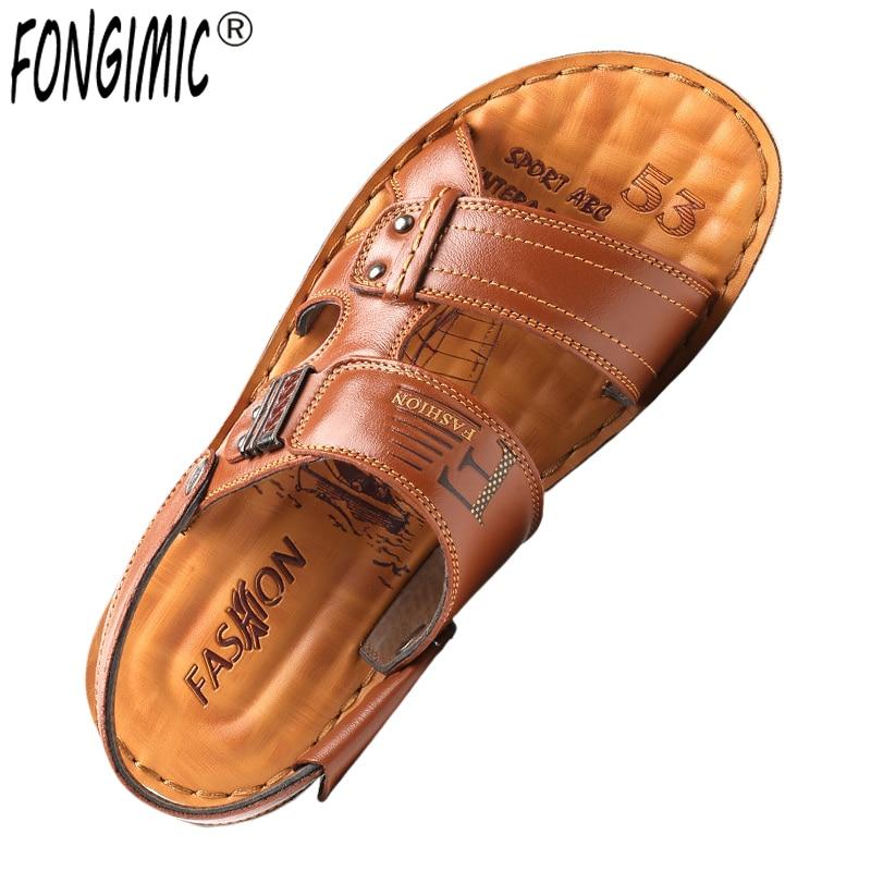 FONGIMIC/летние мужские сандалии; новые уличные шлепанцы; сандалии; кожаная пляжная обувь для отдыха; сандалии из искусственной кожи в богемном ...