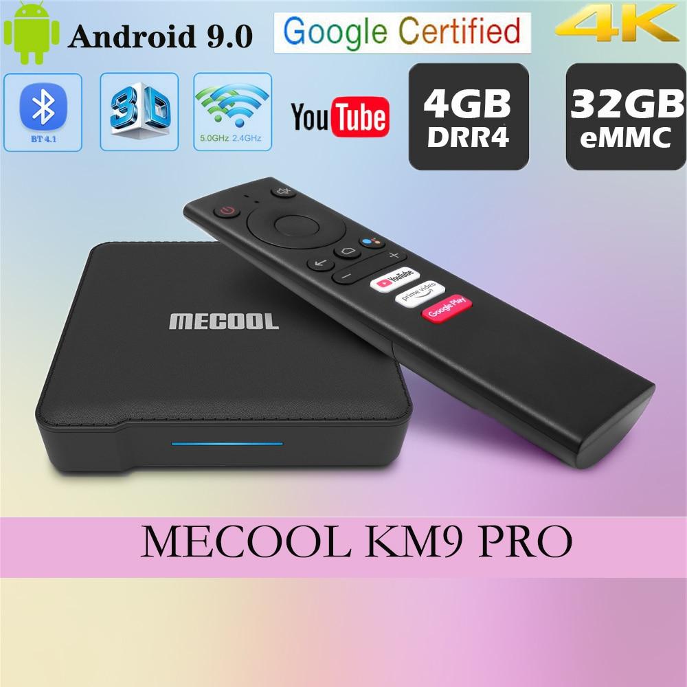 MECOOL KM9 PRO funda para tv mi Google Certificato caja de TV Android 9,0 Amlogic S905X 4K Wifi Dual ajuste decodificador IPTV Dispositivo de TV inteligente