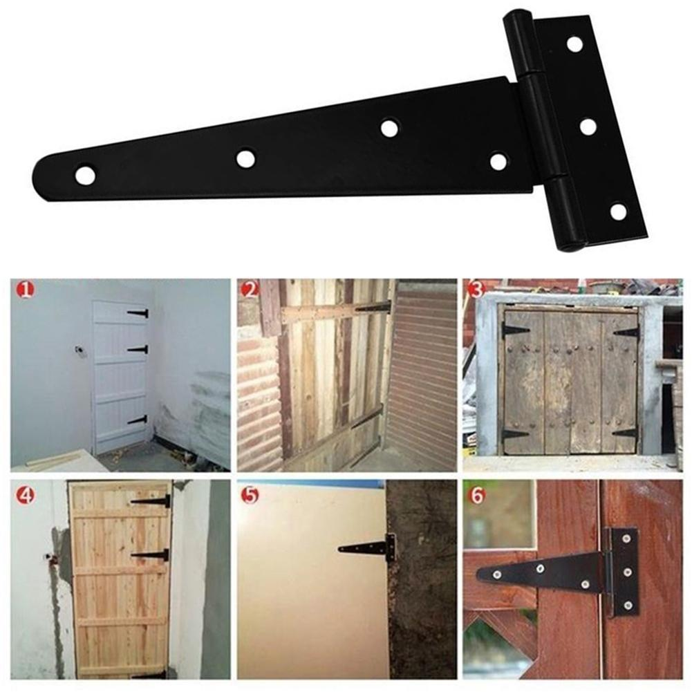 Puerta de cobertizo, puerta de madera para jardín para 4/6/8/10 / 12 pulgadas, bisagra en T, puerta negra, bisagra galvanizada triangular en T para hogar, ranura para puerta de rodamiento I6L7